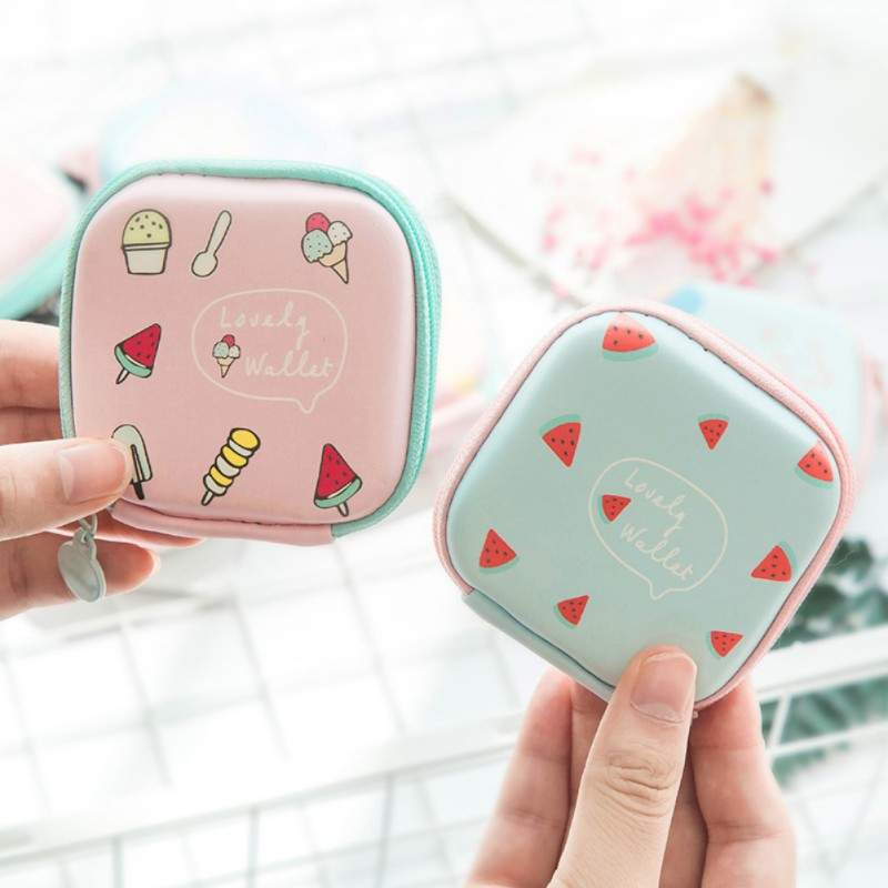 cute Storage Bag Fruit Print Earphone USB Cable Earbuds Makeup Organizer Outdoor Travel Supplies 1pc