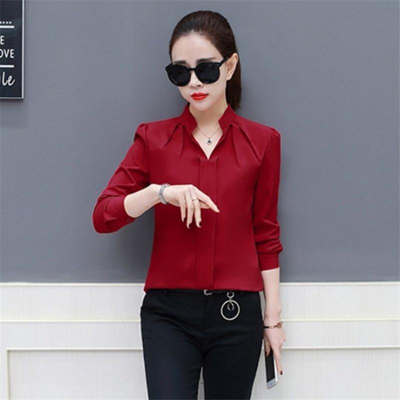 2019 Frauen Sexy V-ausschnitt Chiffon-bluse Damen Langarm Plissee Shirts Elegante Plus Größe Stilvolle Büro Bluse
