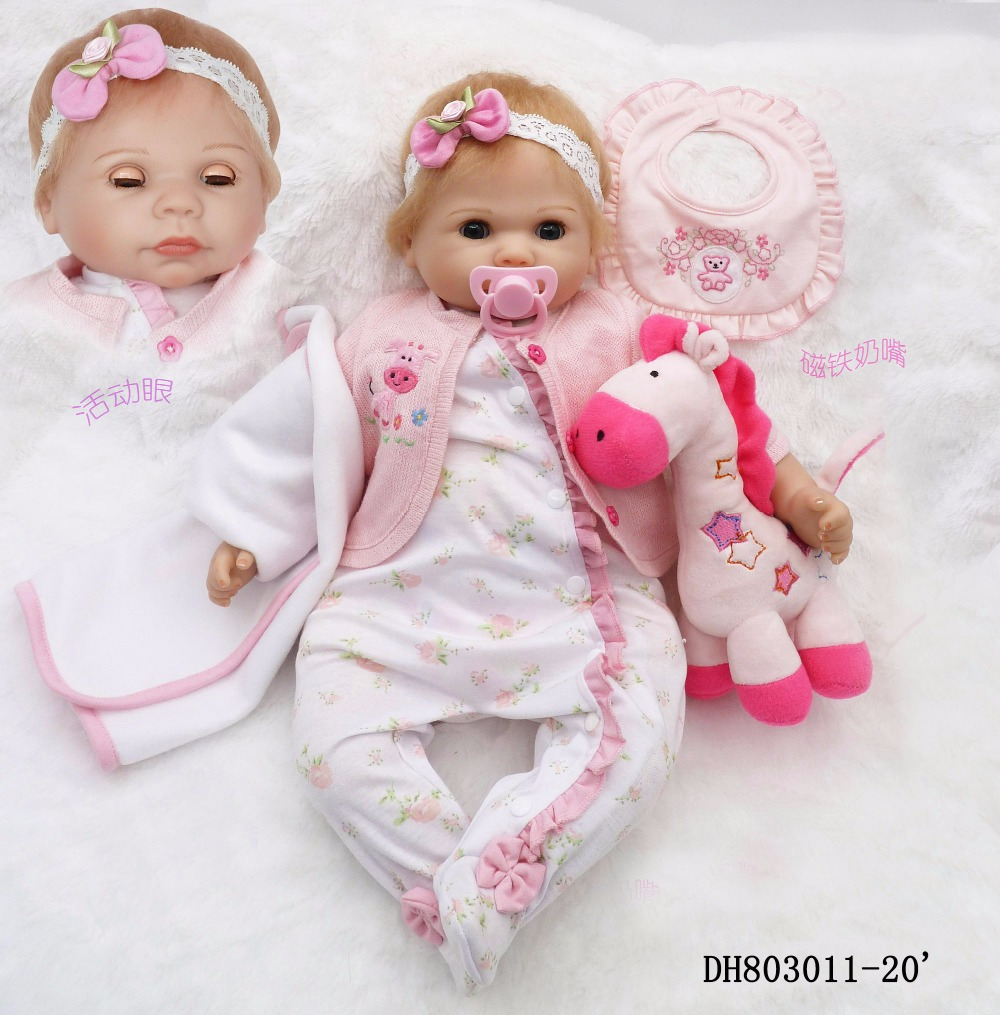 New Design Bebe Reborn Girl Doll with open/close Eyes Pink Princess Adora Bonecas as Kids Birthday Gifts with Free Plush Deer