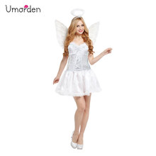 Umorden Purim Carnival Party Halloween Costumes Lady Woman Purity White Angel Costume Women Fancy Dress Wing