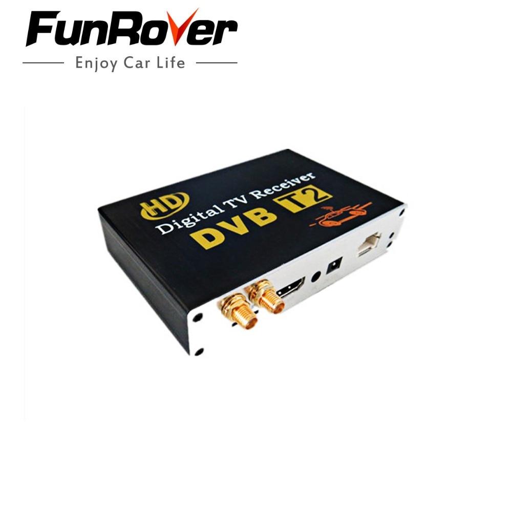 FUNROVER Voiture DVB-T2 récepteur tv Double Tuner pour la voiture DVD Haute Vitesse Mpeg4 Voiture tv numérique Boîte Tuner Auto Mobile DVB-T2 Récepteur Boîte