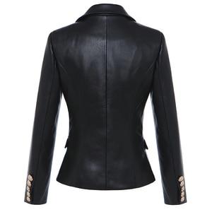 Image 3 - Blouson en Faux cuir femmes, boutons en métal, tendance Baroque, Blazer de styliste, tendance 2020