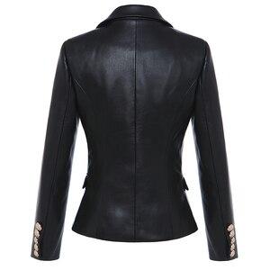 Image 3 - HIGH STREET Newest Baroque Fashion 2020 Designer Blazer Jacket Womens Lion Metal Buttons Faux Leather Blazer Outer Coat
