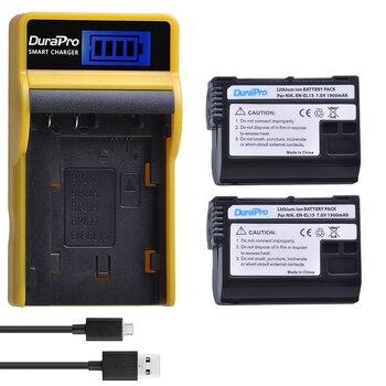 DuraPro 2pc1900mAh EN-EL15 EN EL15 Li-ion Batterie + LCD USB Chargeur pour Nikon D800E D800 D600 D7100 D7000 D7100 V1 MB-D14 Caméra