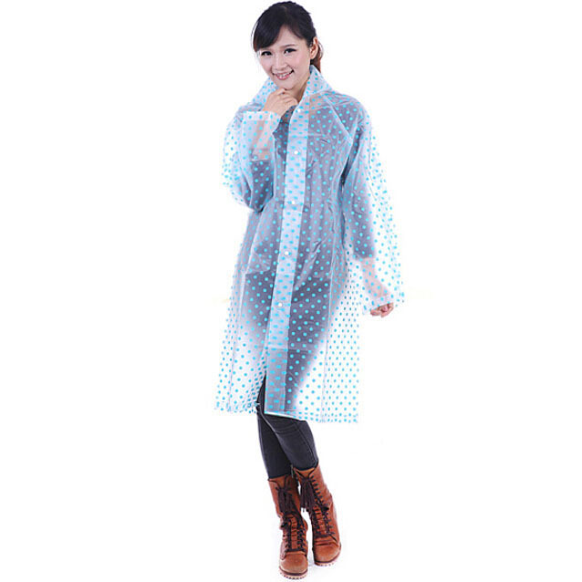 Polka Dot Women's Raincoat Transparent Outdoor Lengthen Hooded Thickening Raincoat for Women EVA High Quality GM1902