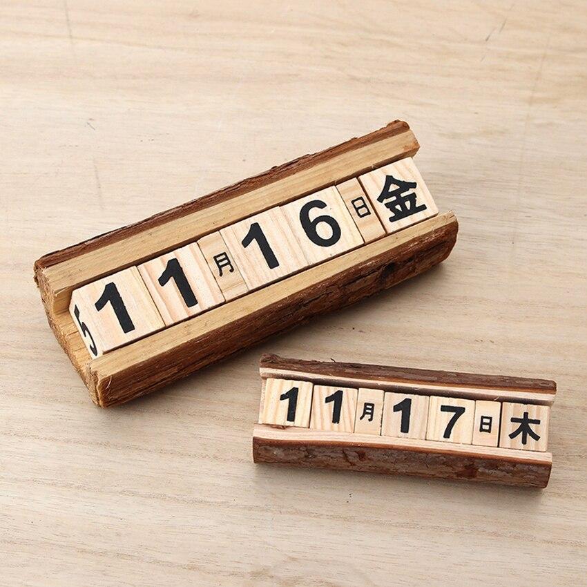 Creative DIY Wood Block Perpetual Calendar Desk Calendar Wood Calendar Fashion Home Office Decoration Gift