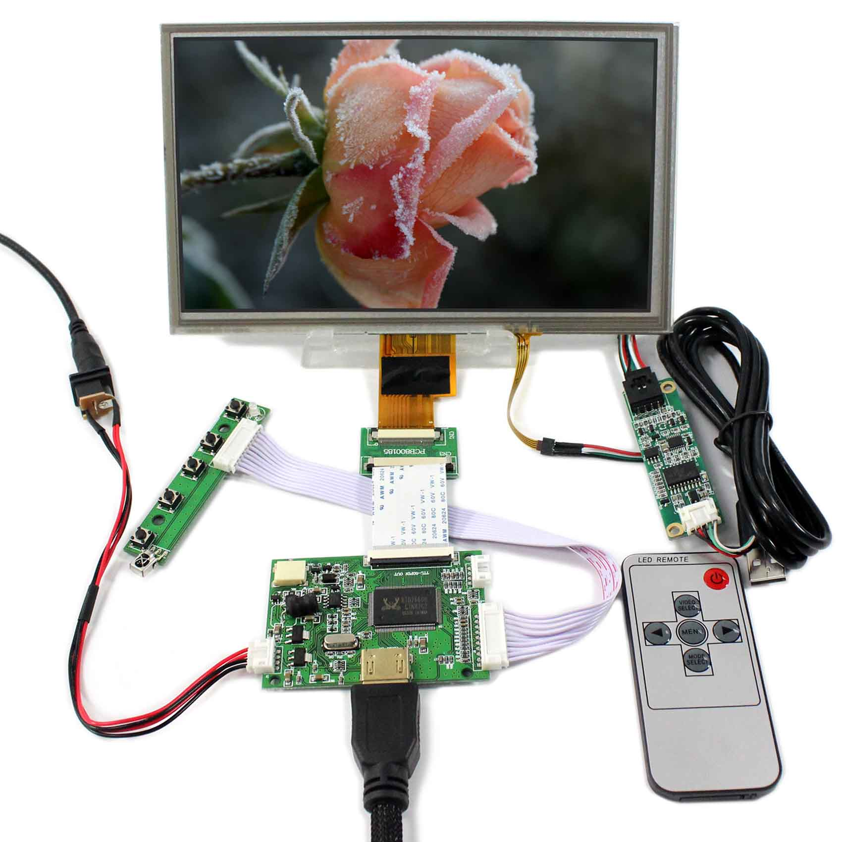 HDMI LCD Controller Board+8inch ZJ080NA-08A 1024X600 LCD Screen With Touch Panel 8inch zj080na 08a 1024x600 resistive touch lcd screen vga 2av reversing lcd controller board kyv n2 v1