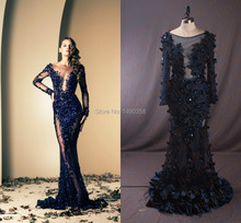 Ziad Nakad 2016 Langarm Prom Kleid Frauen Echt Bild lange Elegante Abendkleid Türkisch In Boden Perlen Vestido Festa Tule