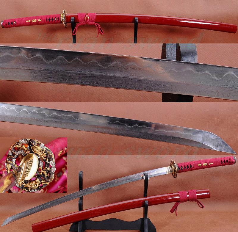 Clay tempered Folded Steel Blade Drago Tsuba Japonský samurajský meč Katana SHARP