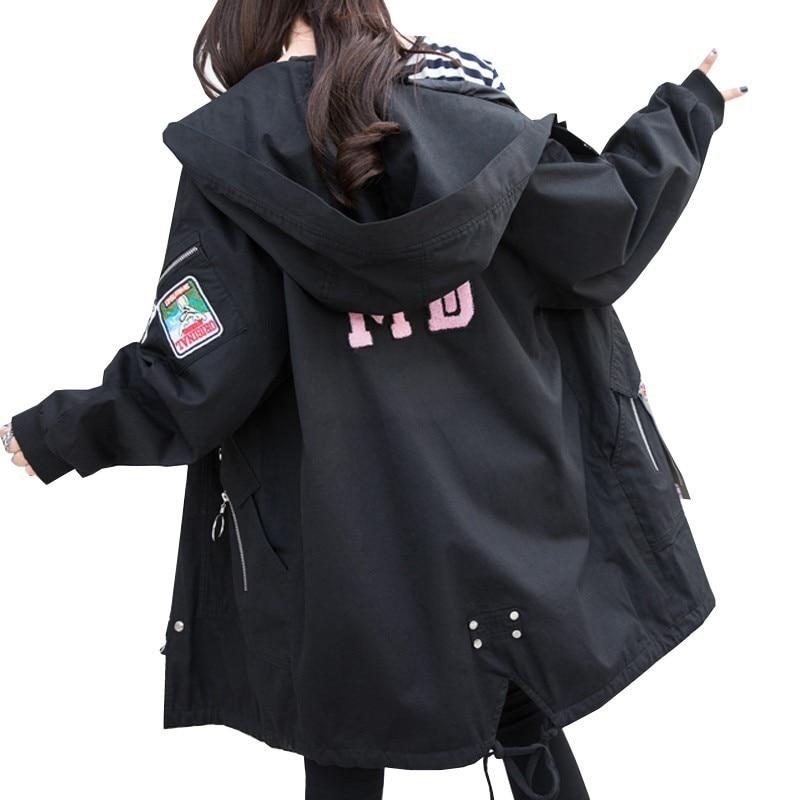 2019 New Spring Autumn Women Loose Windbreaker Plus Size Casual Coat Code Ladies Long Fat Boutique Fashion Female Jacket PJ515