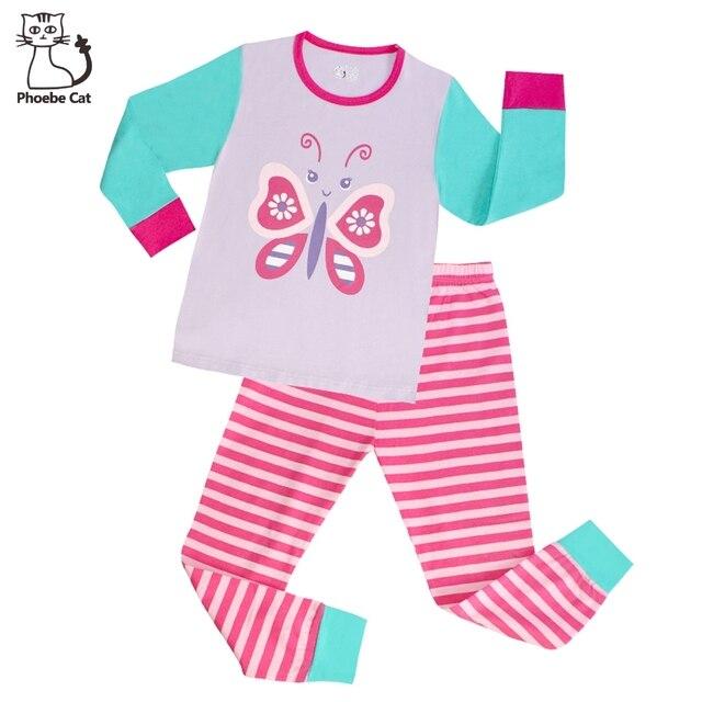 b6e731e41 Phoebe Gato de Alta Qualidade Da Borboleta Das Meninas Pijama Pijama  Infantil Crianças Fille menina 100