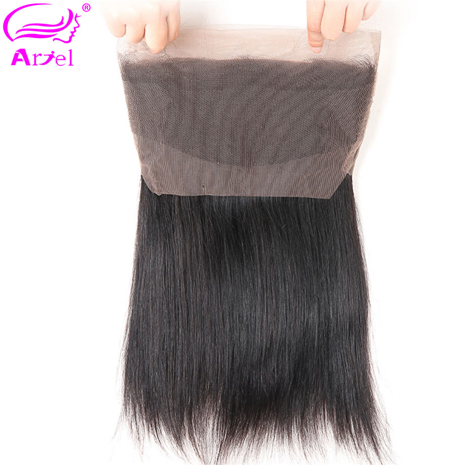 Ariel Lace-Frontal-Closure Hair Free-Part Straight 100%Human-Hair Brazilian Non-Remy