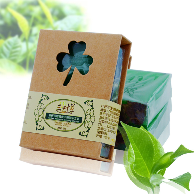 100g Natural Tea Tree Essential Oil Handmade Soap Acne Treatment Whitening Soap Dispelling Wrinkles Bath Soap Cold Process Soap