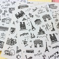 Waterproof  World Building DIY Notebook Diary Stickers ARC DE TRIOMPHE Tower Plane Car Stickers Gift Wrap Stickers 6 Sheets/Set