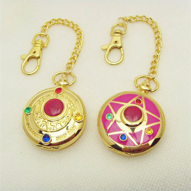 Fashion Sailor Moon Keyring 20th Anniversary Pendant Key Chain Charm Pocket Watch Birthday Gift Collection Cosplay Bag Charms