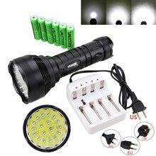 Militaire 50000LM 18x XM-L T6 LED Tactique lampe de Poche Torche de Chasse de La Lampe 5 Modes Avec Chargeur 6×18650 Batterie