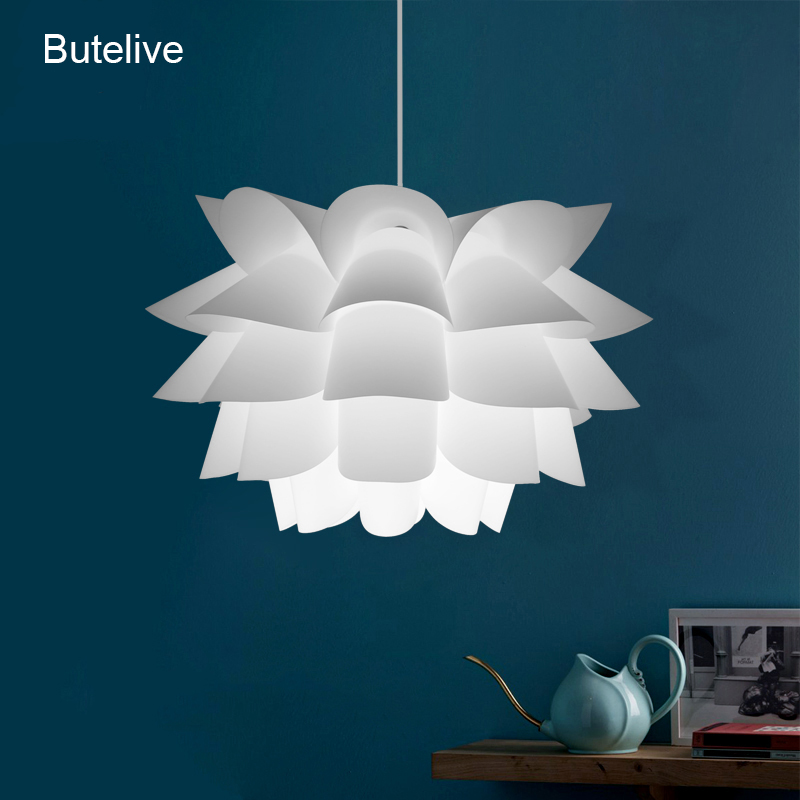 Modern Lotus Pendant Lights Flower Lampshade Pendant Lamp Nordic Hanglamp For Bedroom Living Room Creative DIY Hanging Lamp E27