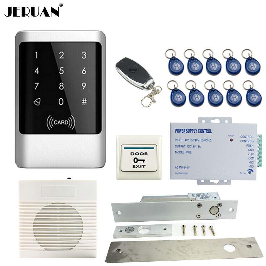 все цены на JERUAN NEW Metal Waterproof RFID Password touch Access Controller system kit+doorbell+Remote control+In stock Free shipping