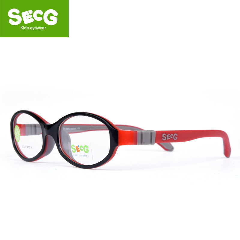 SECG Round Cute Children Glasses Frame Optical Myopia Glasses for Sight Kids Flexible Soft Spectacle Frame No Screw Eyeglasses