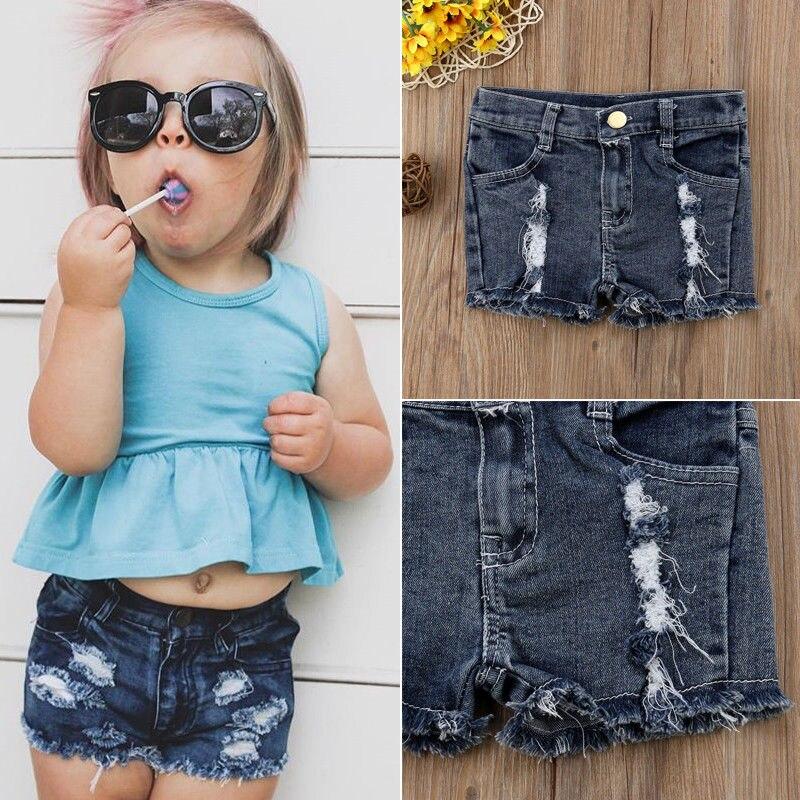 2018 Neue Marke Kinder Baby Mädchen Stretch Ripped Jeans Zerstört Ausgefranste Denim Shorts Hot Pants Rheuma Lindern