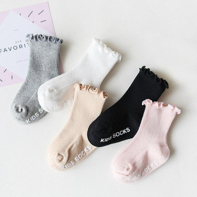Baby Cotton Socks New Autumn Winter Cute Girls Socks Solid Children Mid Tube Non-Slip Socks 1 2 3 4 5 years