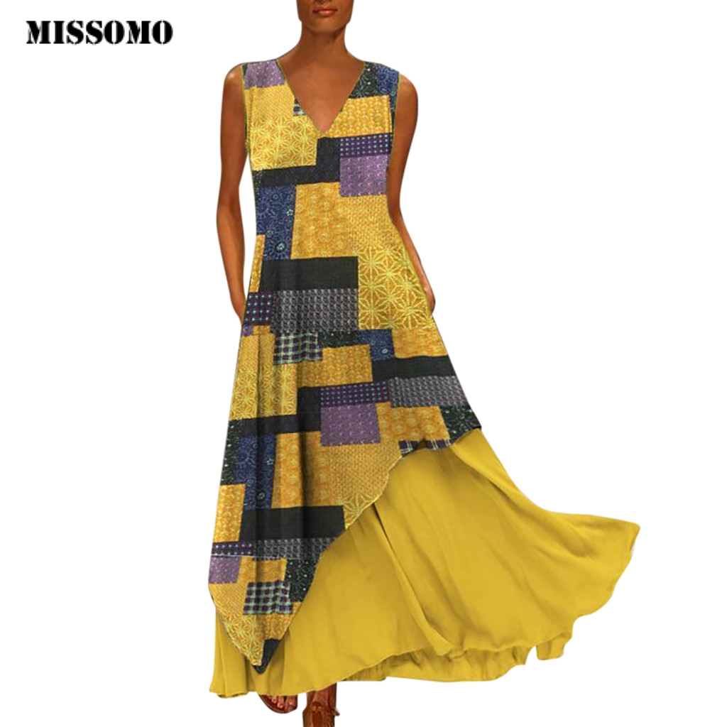 MISSOMO Plus Size 5XL Women Vintage V Neck Splicing Printed Sleeveless Long Maxi Dress Linen Summer Dress Women Vestidos 611