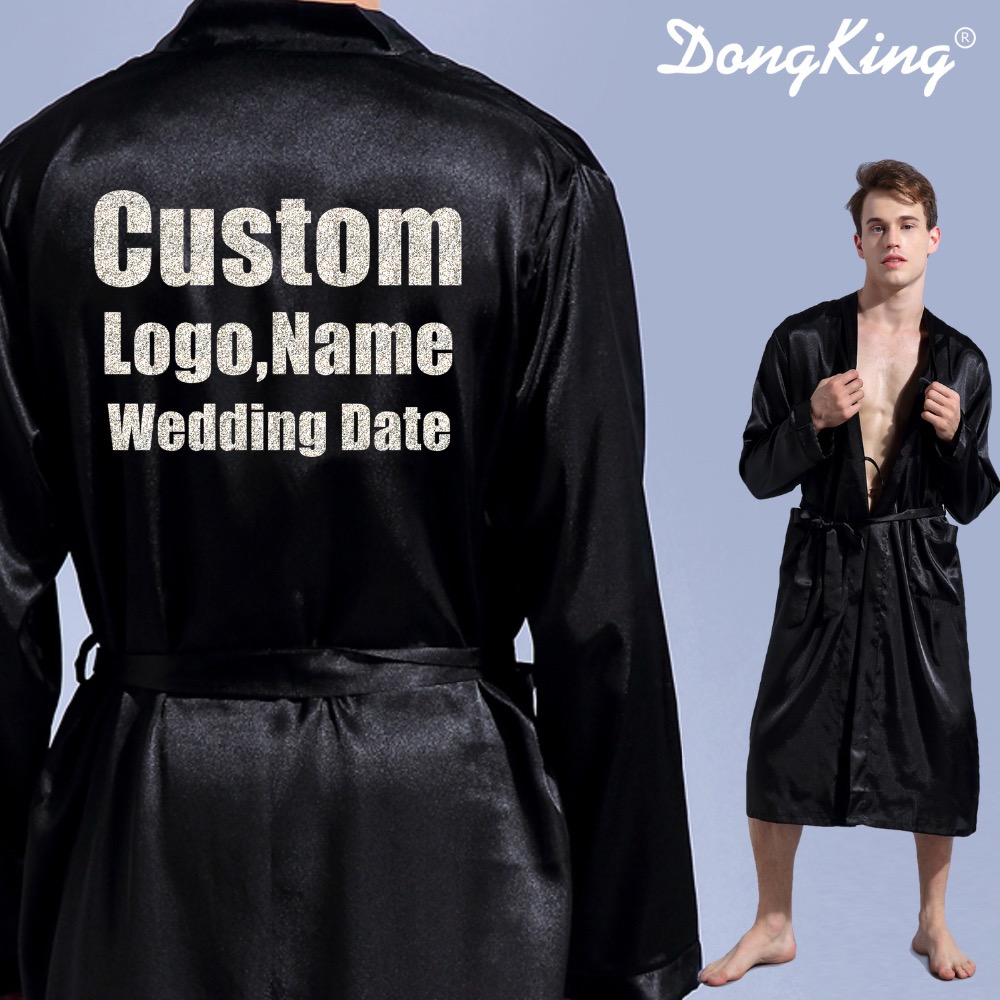 DongKing Men's Robe Long Sleeve Custom Faux Silk Robes Groom Kimono Robe Print Glitter LOGO Bro's Mr Robe Team Groom Gift