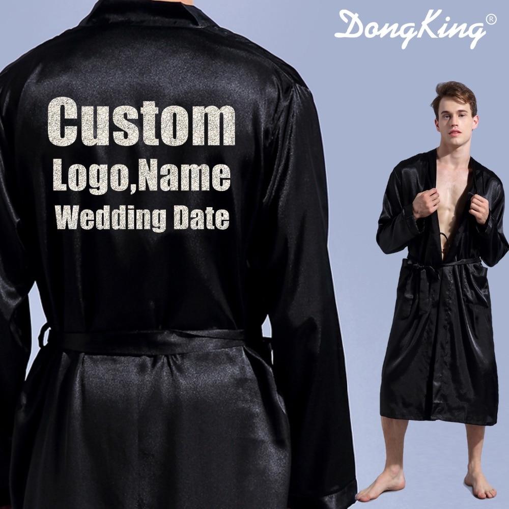 DongKing Men's Robe Long Sleeve Custom Faux Silk Robes Groom Kimono Robe Print Glitter LOGO Bro's Mr Robe Team Groom Gift