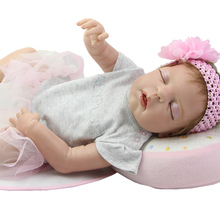 NPK Collection Full Silicone Soft Vinyl Reborn Baby Doll Boneca 22 Inch Princess Girls Sleeping Newborn Dolls Kids Birthday Gift