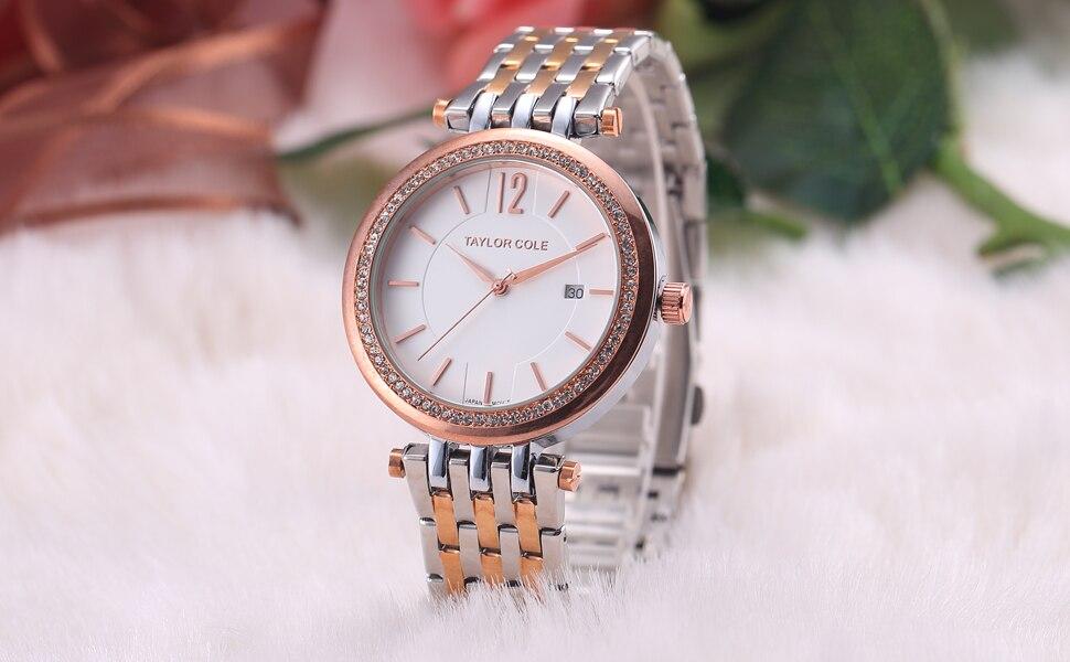 60752a35925 Cole Taylor Hodinky Mulheres Pulseira Data Auto relógio de Ouro Rosa de  Prata Pulseira de Aço Inoxidável Senhora Strass Musa Dom Relógio Relógio de  Quartzo  ...