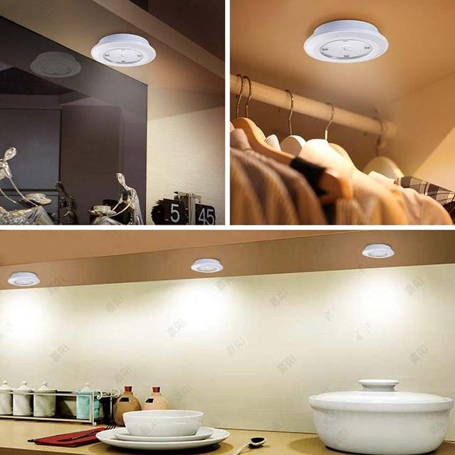 Portable LED Stick-on Wireless Puck Light Adjustable Brightness Under Cabinet Kitchen Closet Light Touch Sensor Wall Night Light