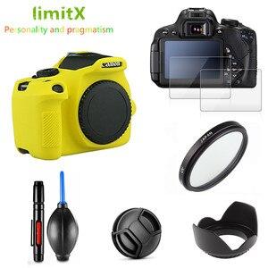 Image 2 - Full Protect Kit Screen Protector Camera case bag UV Filter Lens hood Cap pen Blower for Canon EOS 2000D Redel T7 18 55mm lens
