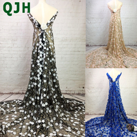 High End Wedding Party Dress Embroidery Lace Fabric Private Custom 3D Floating Flowers Applique African Textile