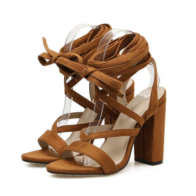 Amelia Lace-Up Block Summer Gladiator Shoes (Two Colors)