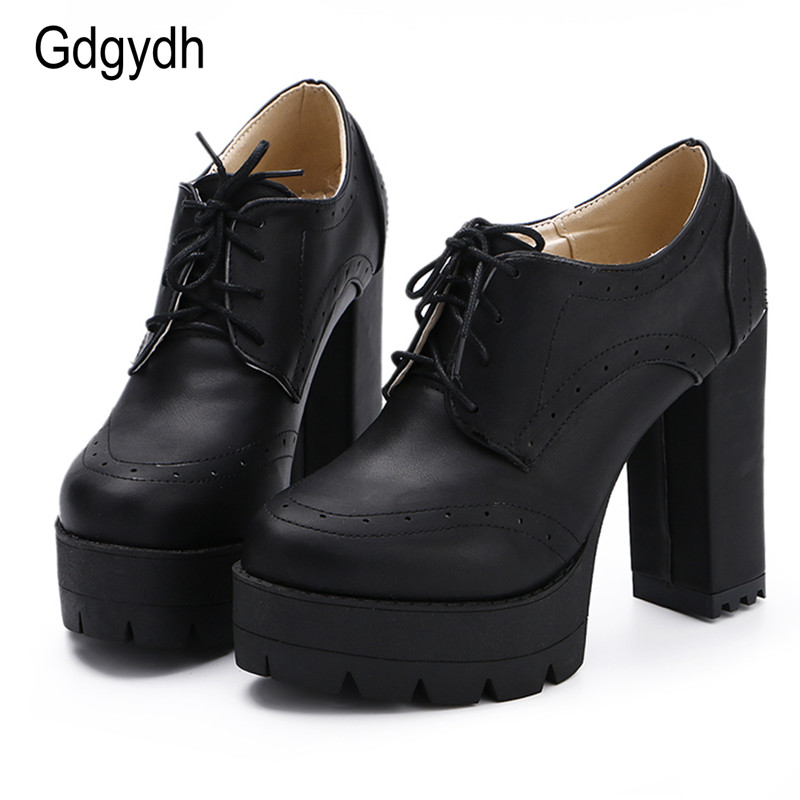 Gdgydh Fashion Neutral Women Pumps Shoes Round Toe Two-piece Female Single Shoes Thick Heels High Platform Ladies Shoes Fretwork