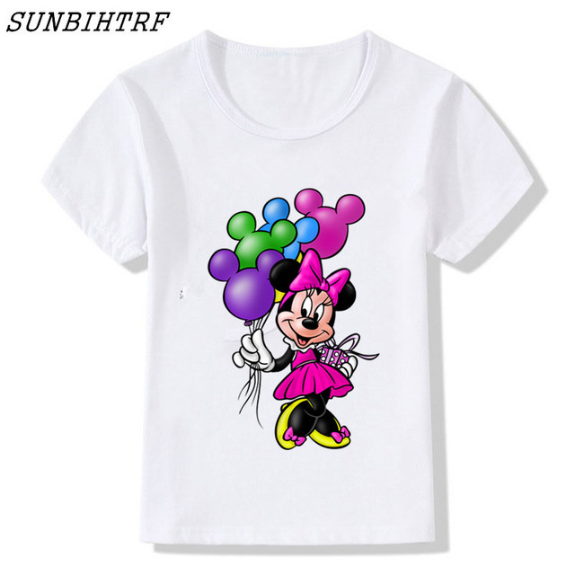e97c5681 Minnie mouse girl short sleeve t shirt tops Kids Funny Cute Summer  streetwear Novelty O-