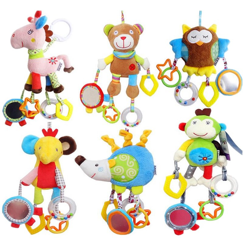 Baby Infant Animal Soft Rattles Bed Crib Stroller Music Hanging Bell Kids Stuffed Toys Teether For Children Dolls 40% Off
