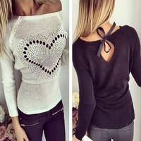 S 3XL Plus Size 2015 Autumn New Women Fashion Hollow Out Hemp Flower Sweaters Bow Backless