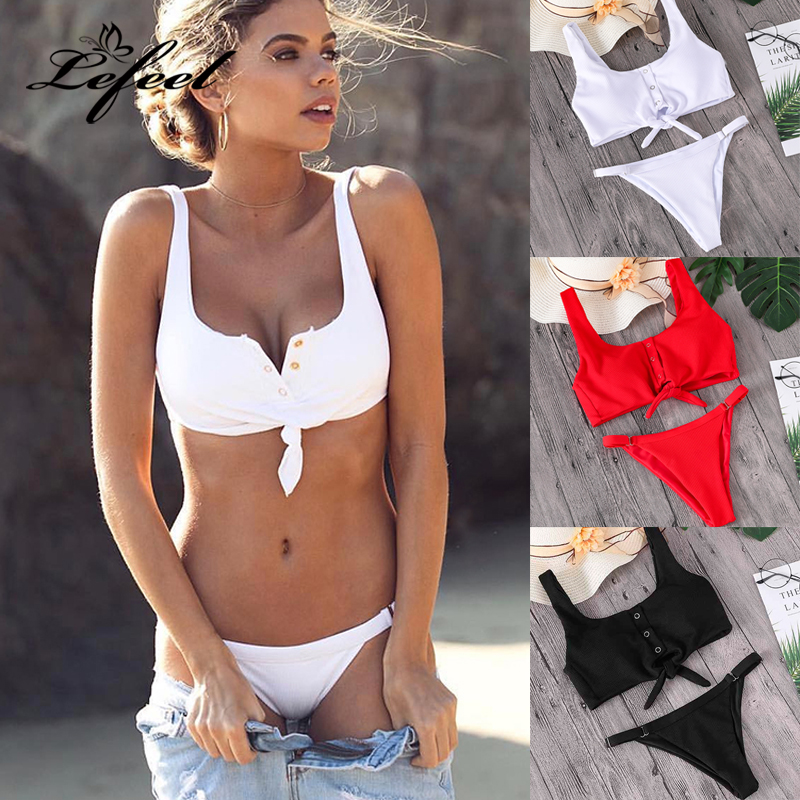 Lefeel 2018 Sexy Two Piece Bikini Set Solid Swimwear Low Waist Swimsuit Women Hot Sale Bikinis Bathing Suit Summer Biquini mr clumsy