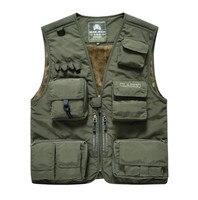 NIANJEEP Brand Men Multi Pocket Photographer Vest Winter Thicken Casual Waistcoat Sleeveless Jacket Army Green Reporter