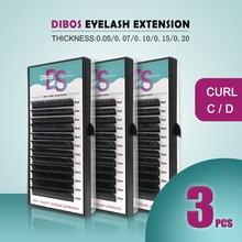 Dibos 3cases/set mink eyelash extension  individual eyelashes false eyelashes fake eyelashes недорого