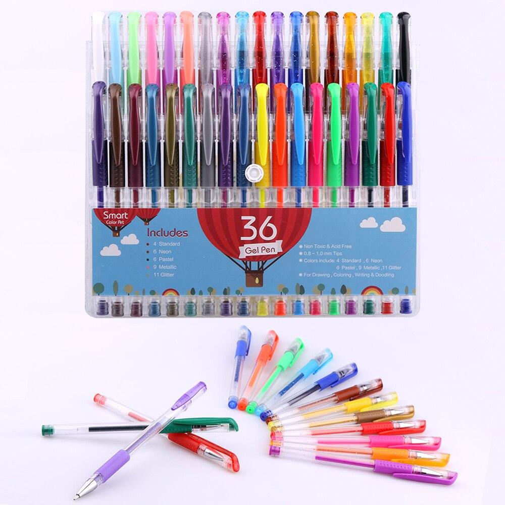 Смарт-цветной - 36 цветов гель-ручка комплект | цвета в комплекте : блеск, Неон, Пастель, Стандартные и металлик | для окрашивания, Рисунок, Написание