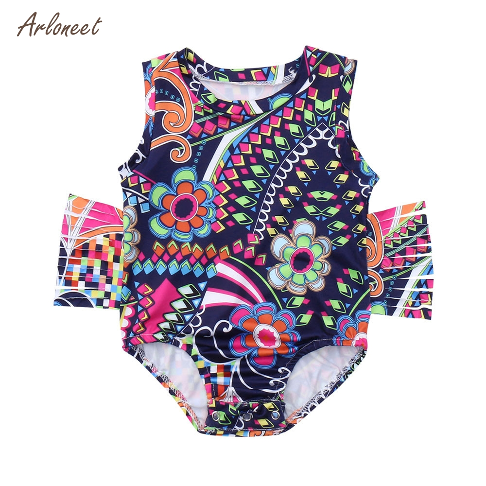 ARLONEET Infant Baby Girls Sleeveless Floral Print Tassels Vest Romper Jumpsuit Clothes 2018 HOT Dropshipping _E28