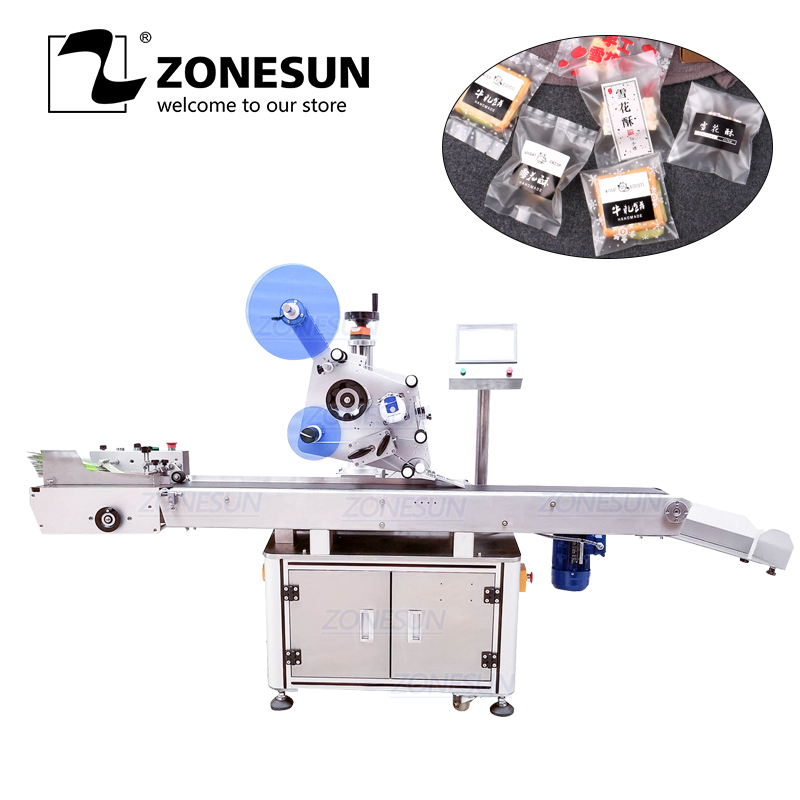 ZONESUN XL-T832 Automatic Sticker Adhesive Plane B Tag Food Paper Book Large Plastic Film Flat Packing Labeling Machine