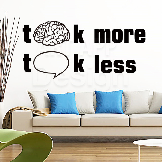 Art Design Cheap Home Decoration Think More Words Wall Decals Removable  Colorful House Decor Talk Less