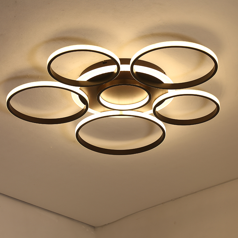 Round Circle White Chandelier For Living Room Bedroom AC85-265V Modern Lustre Ceiling Chandelier Lamp LED lights with Remote