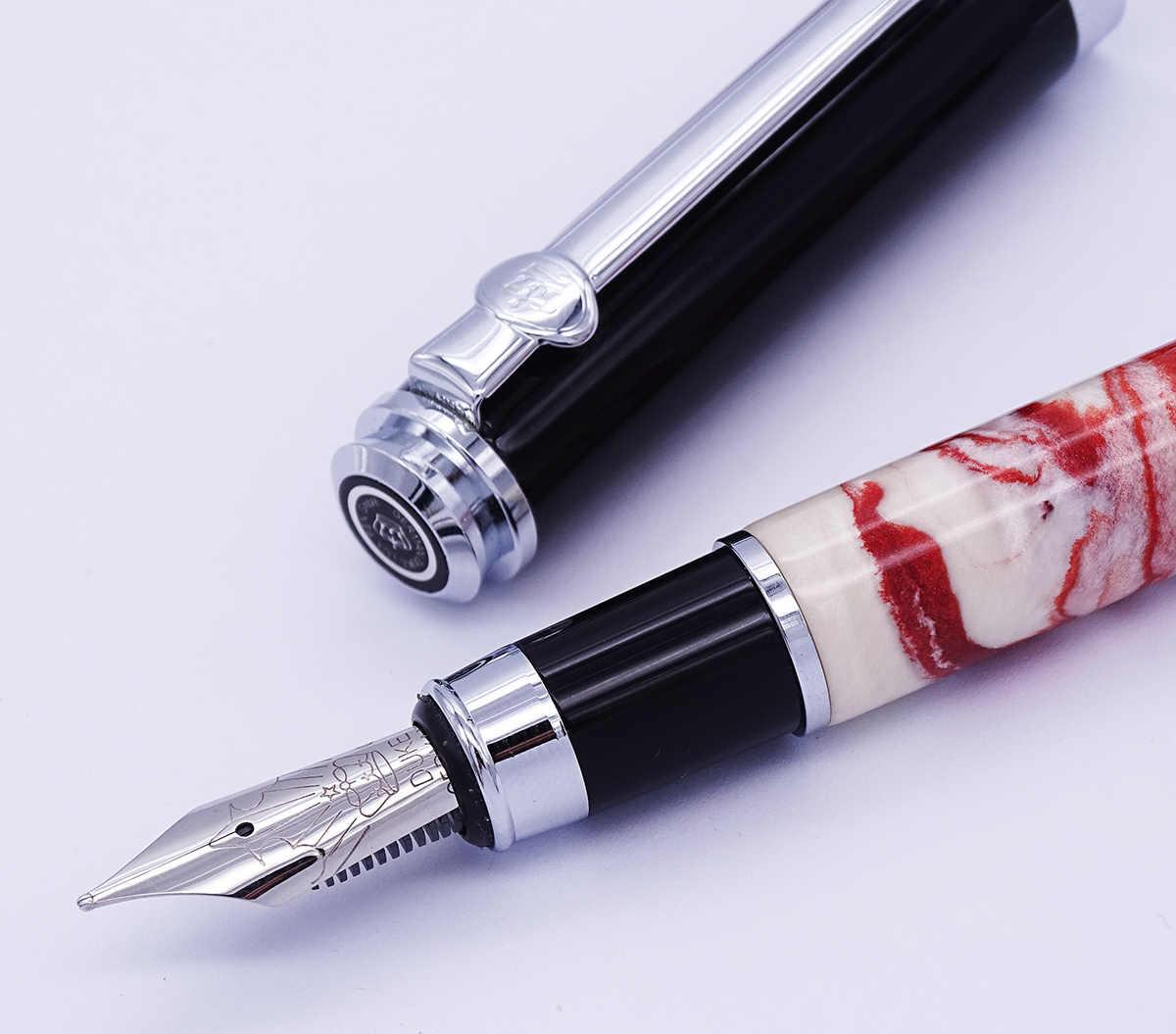 Duke Celluloid Red Fountain Pen Beautiful Quicksand Da Vinci Medium Nib Gift Pen