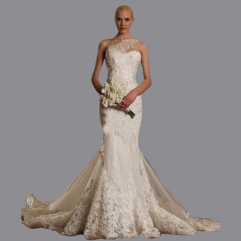 Mermaid 1 Shoulder Wedding Gown Fitted Lace And Tulle