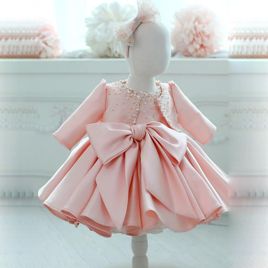 Baby Girl Dress Cute Nail bead Long Sleeved Cardigan Sleeveless Big bowknot Dress 2 Pieces Infant