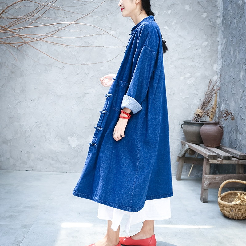 Free Shipping 2019 New Fashion Loose A-line Denim Women Long mid-calf Plus Size S-XL Vintage Chinese Style Jeans Trench